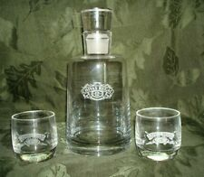 Chivas Regal Barware 12 year Clear Glass Decanter w/Stopper & 2 Rocks Glasses