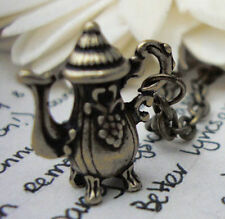 Alice in Wonderland Antique Gold Bronze Teapot Necklace Steampunk Kitsch