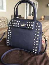 """KATE SPADE NEW YORK """"EMBELLISHED MERRIAM DAVIES"""" OFFSHORE BLUE SATCHEL, NWT"""