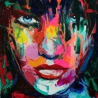 ZWPT931  100% paint hand abstract girl face of color oil painting art on Canvas