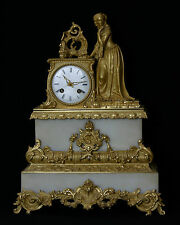 Horloge bronze doré et marbre/ Bronze and marble clock, 19th century
