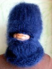Hand Knitted Mohair Hat  Balaclava  Mask Dark Blue
