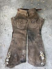 VINTAGE 60's COWBOY WESTERN LEATHER CHAPS RARE Ykk ZIPPER High Quality Used