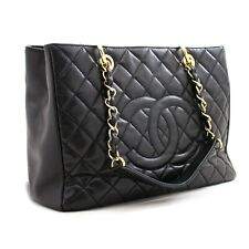 "z88 CHANEL Authentic Caviar GST 13"" Grand Shopping Tote Chain Shoulder Bag Gold"