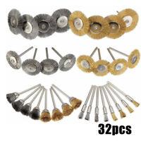 32Pcs Wire Steel Brass Brush Polishing Brush Wheels Tools Rotary Derusting Kit