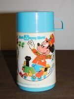 VINTAGE ALADDIN WALT DISNEY WORLD MICKEY MOUSE TRAIN  PLASTIC LUNCH BOX THERMOS