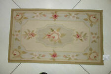 Antique French Country Castle Floral Aubusson Wool Rug Hand Crafted