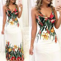 Women's Mini Boho Floral Summer Beach Long Skirt Evening Cocktail Party Dress