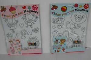 Activity Colour Your Own (10) Magnets Arts Craft Children Cut Fridge Creativity