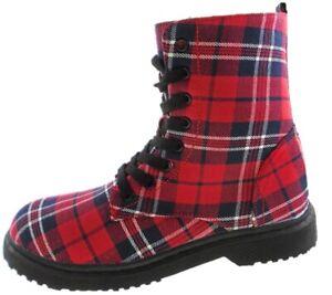 Ladies Red Tartan Military Hiking Combat Grunge Festival Ankle Boots UK 3 - UK 8