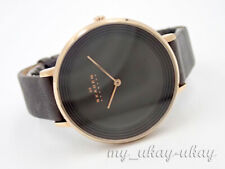 SKAGEN SKW2216 Black Dial Gray Leather Band Ladies Dress Watch