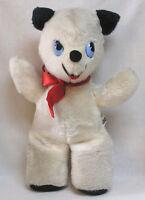 Vintage Plush Animal Gund Teddy Panda Bear with Big Plastic Eyes Red Bow