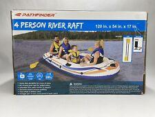 ~NEW~Pathfinder 4 Person Inflatable River Raft Boat,Pump & 2 Oars Kayak Rafting