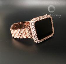 Apple Watch Band 42mm Series 2/3 Rose Gold Rhinestone CaseCover 2mm Lab Diamond