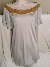 Beautiful Brand New Burberry With Tags (Resort) Beaded Beige Knit T Shirt Size L