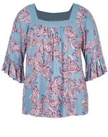 Autograph Plus Size Ladies Elbow Length Embroidered Yoke Tunic / Top Size 20