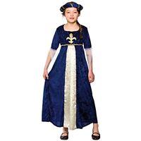Girls Regal Tudor Princess Blue Dress Costume Fancy Dress 11-13 years
