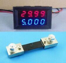 0-100V 100A + Shunt DC Digital Voltmeter Ammeter LED Amp Volt Meter 12v 24v car