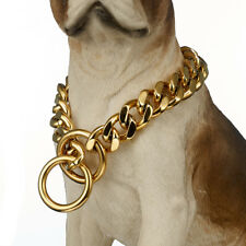 Gold Dog Collar Stainless Steel Cuban Link Miami Chain 15mm Dog Training Choker