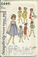 "S 5446 sewing pattern 60's Tammy Jan 12"" DOLL WARDROBE Dress Bra Shorts Robe Cap"