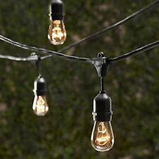 NEW 48 ft Black Outdoor Metro String Strand Light 15 Sockets for Edison Bulbs