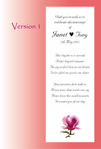 100 Personalised Wedding Favour Scrolls, WITHOUT ribbon, 5 poems & 5 styles