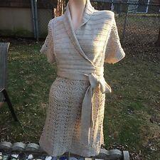MODA International Women's Beige Knit Dress Sz.L