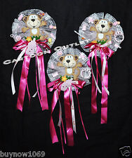 1 PC BABY SHOWER CORSAGE BOW PINK GIRL MOMMY TO BE PIN CORAGE MONKEY 1 @ RANDOM