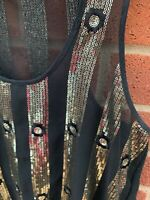 River Island Black & Gold Vest Top Floral Sleeveless Size 8 Glitz Glamour Sheer