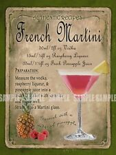 FRENCH MARTINI   COCKTAIL RECIPE METAL SIGN :HOME BAR:PUB:BAR:CAFE:  LOVELY GIFT