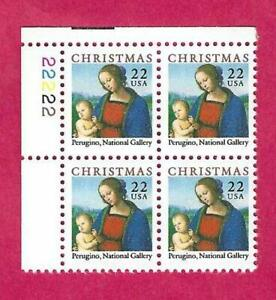 SCOTT 2244 22 CENT 1986 CHRISTMAS MADONNA PLATE BLOCK - $1.85 AND FREE SHIPPING