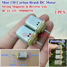 2PCS Carbon Brush 130 Motor DC 6V~12V High Speed Magnetic Reverse Axis 19000RPM