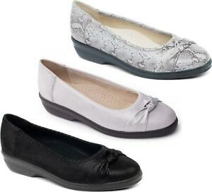 Padders FIONA Ladies Womens Leather Extra Wide Flat Cushioned Pumps Shoes Silver