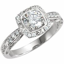 1 carat total Round Diamond Engagement Solitaire 14K White Gold Ring G SI1