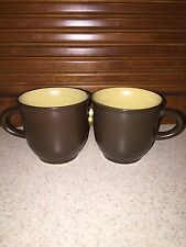 Noritake Folkstone Yellow Flower Center with Brown Trim Set of 2 Cups Japan