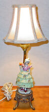 VINTAGE BOUDOIR CERAMIC FIGURINE LAMP WITH NEW SILK SHADE EXCELLENT CONDITION