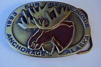 Anchorage Alaska 1993 Enameled Moose Belt Buckle Fur Rendezvous