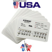 20 Packs AZDENT Dental Metal Brackets Braces Standard Roth .018 Slot Hooks 3-4-5