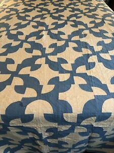 Antique Quilt Dated 1930 Signed Kinney Rankin  Blue White Drunkards Path Full