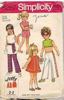 8267 Vintage Simplicity SEWING Pattern Little Girls Jiffy Dress Pants Top Sash