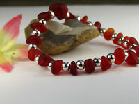 Frosted RED SEA GLASS Beaded Silver Stretch Bracelet USA HANDMADE
