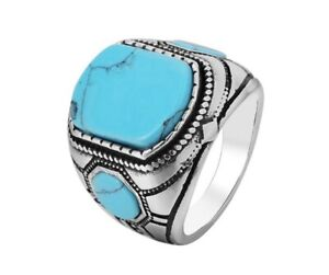 Men Blue Turquoise Square Stone Silver Titanium Stainless Steel Ring Men 8-12