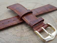 Hirsch Duke 20mm Vintage Watch Band Mens Honey Leather Water Resistant NOS