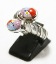 Alan K Sterling Silver & Glass Bypass Ring – Size 6.5