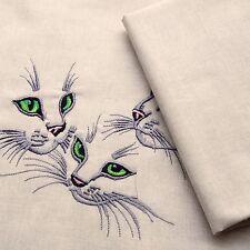 Chaton chat trio coudre et faire un coussin 100% tissu de coton + broderie à la machine