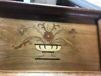 "Hand Carved?  Wood Tray Brass Handles and Wood  Inlay  ? Burning 15 X 10 X 1"" MC"
