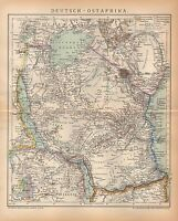 DEUTSCH-OSTAFRIKA DOA Kolonien  Tansania Sansibar Unjamwesi  LANDKARTE  1894