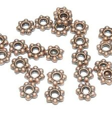 MB353 Antiqued Copper 4mm Daisy Rondelle w Dots Metal Alloy Bead 24pc