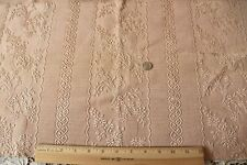 "Antique c1900 Peach Floral & Ribbon Stripe Matelasse Fabric~L-15"" X W-25"""