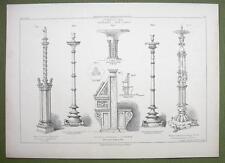 ARCHITECTURE PRINT : ITALY Messina Venice Church Furniture Candelabra Desks